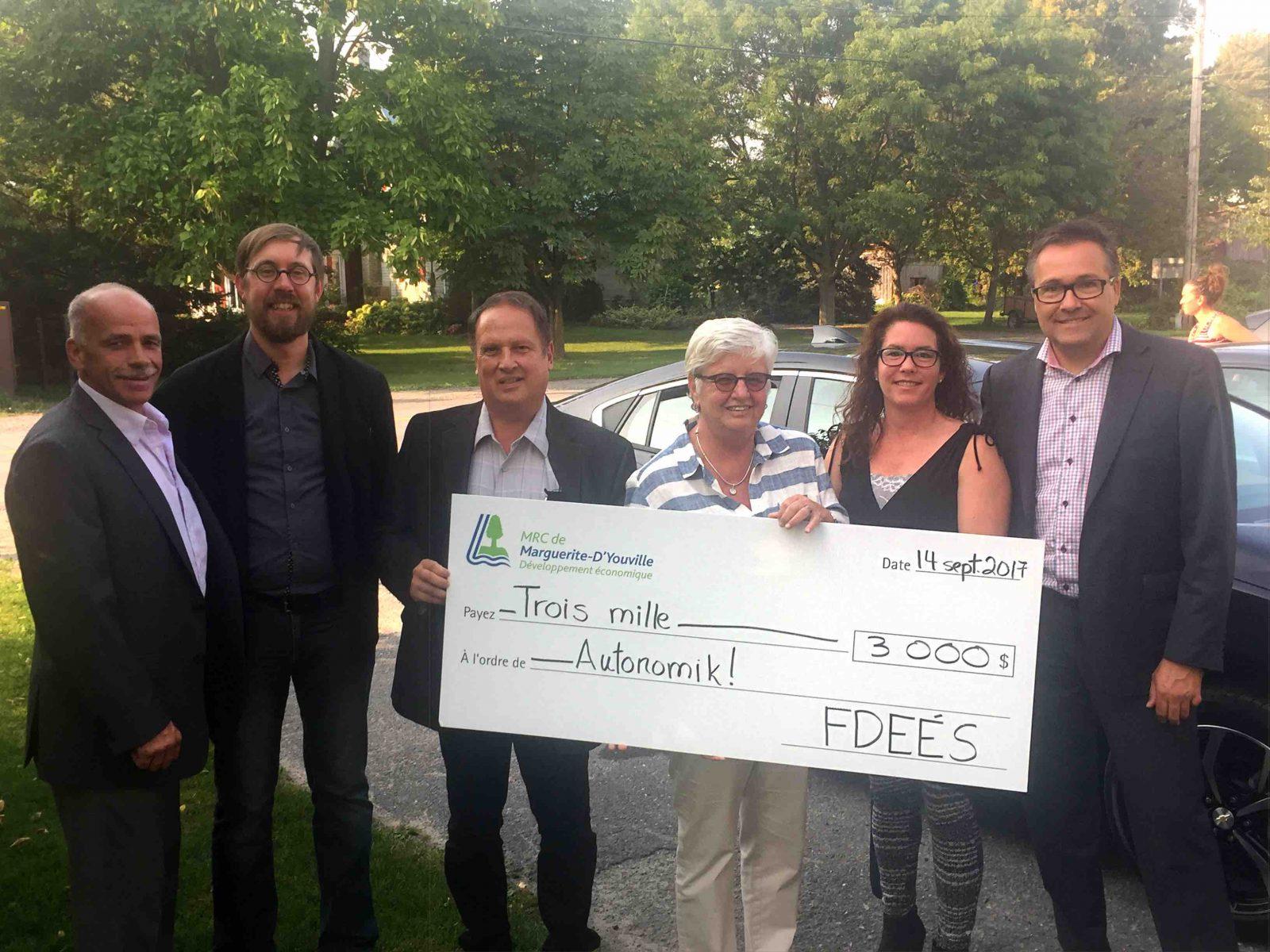 La MRC de Marguerite-D'Youville octroie 3 000 $ à Autonomik!