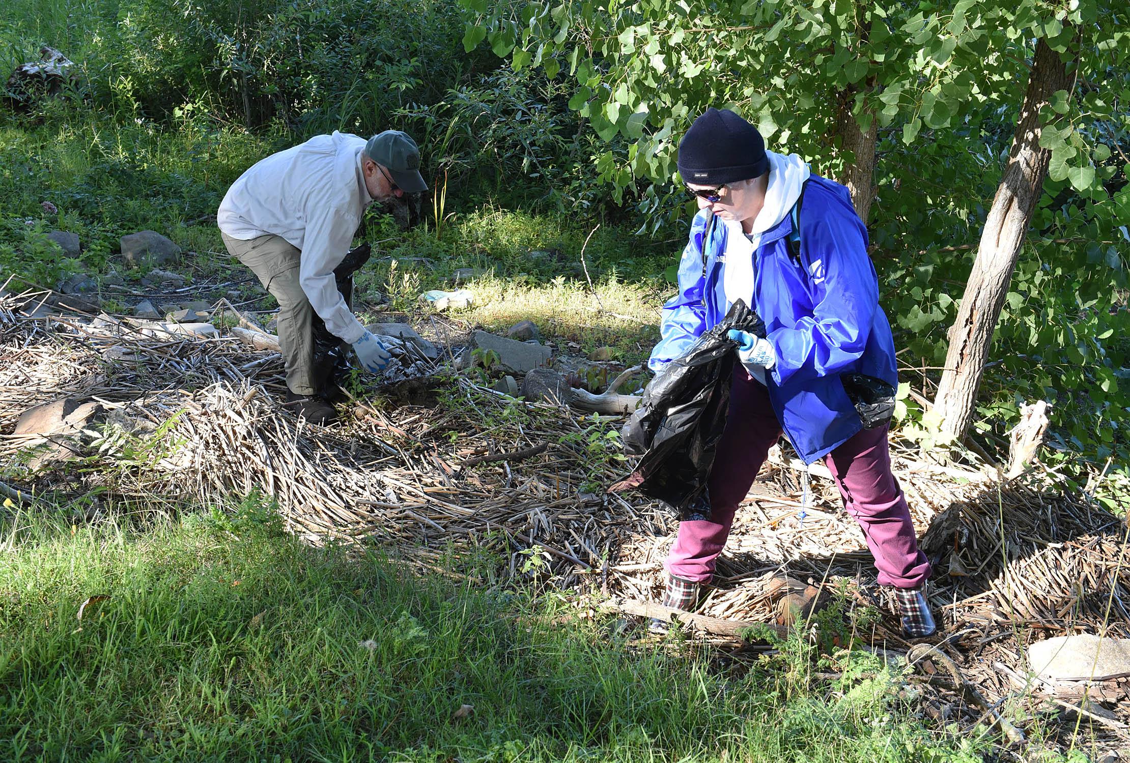 Des bénévoles prennent soin des berges du fleuve à Boucherville