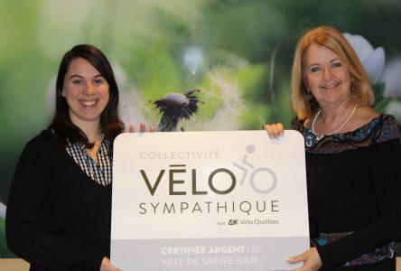 Sainte-Julie certifiée Vélosympathique argent par Vélo Québec