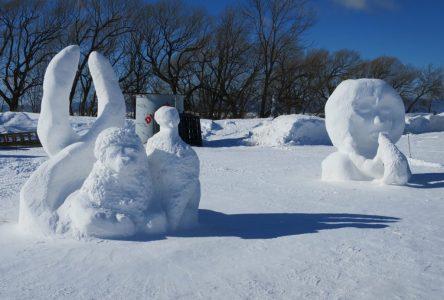 Des élèves de la concentration Arts plastiques de l'école secondaire Jacques-Rousseau participent à une compétition de sculpture sur neige