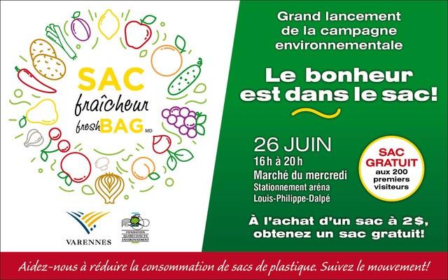 Nouvelle campagne environnementale à Varennes: « Le bonheur est dans le sac »