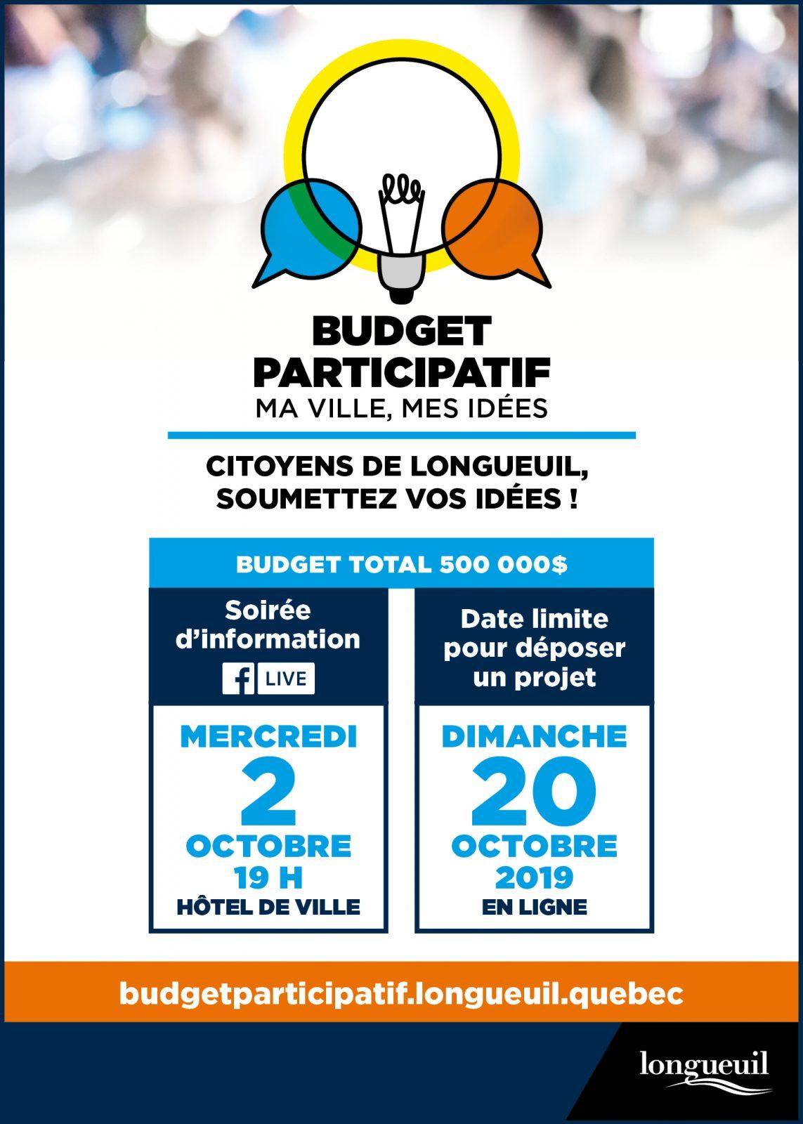 Premier budget participatif de Longueuil: les citoyens invités à contribuer au développement de leur ville