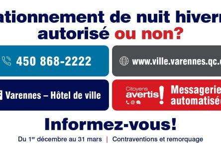 Stationnement de nuit en saison hivernale à Varennes: les citoyens doivent s'informer à partir du 1er décembre