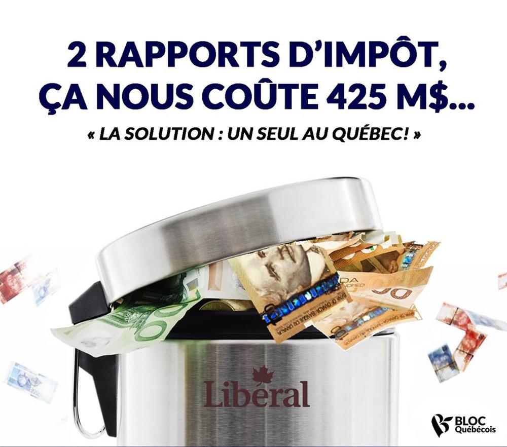 Le Bloc québécois dépose son projet de loi visant l'instauration d'un rapport d'impôt unique