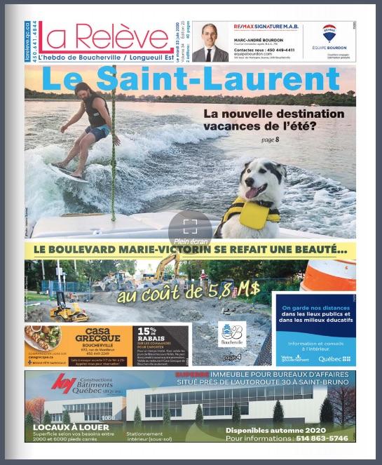 La une de hebdo de La Relève de Boucherville du 23 juin 2020