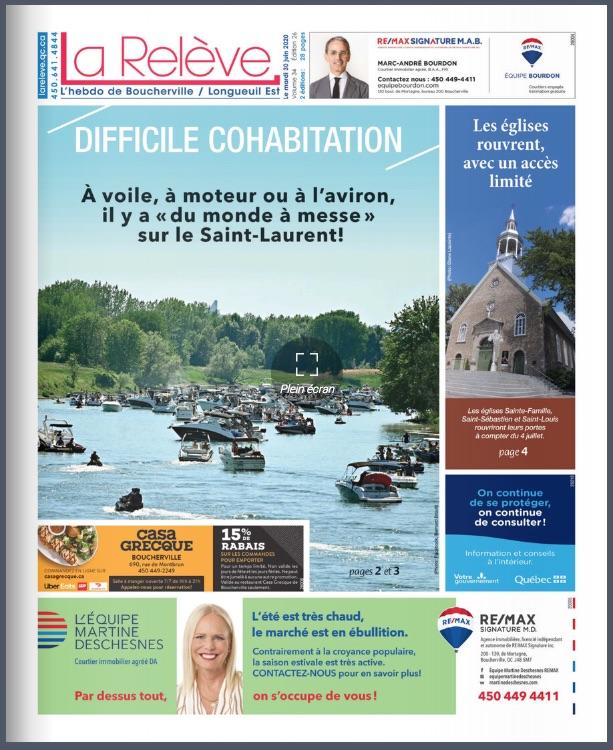 La une du journal La Relève édition Bourcherville et Longueuil est