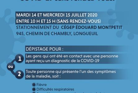 Clinique de dépistage de la COVID dans le Vieux-Longueuil