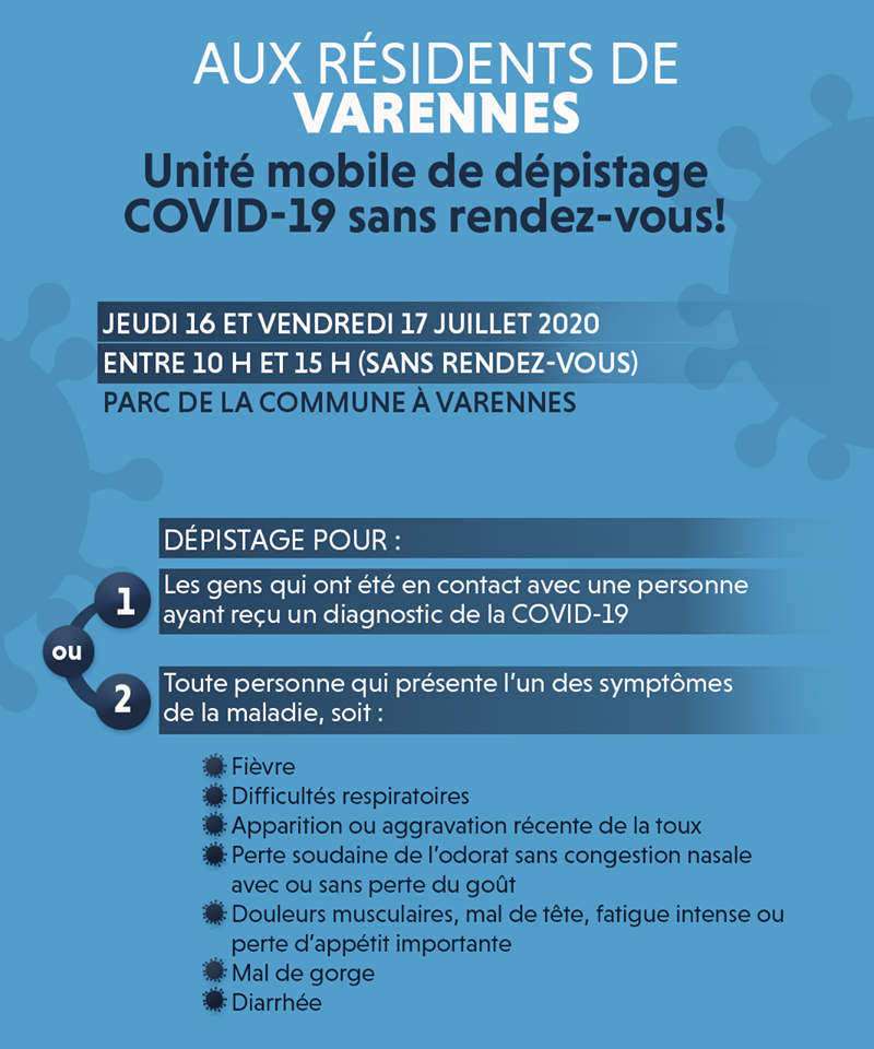 Clinique de dépistage à Varennes: horaire modifié en raison de la pluie