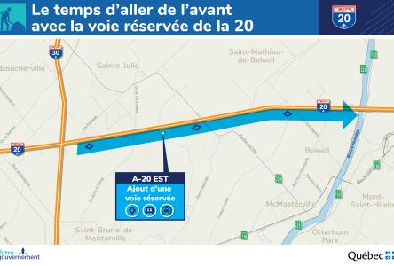 Le gouvernement va de l'avant avec l'ajout d'une voie réservée sur l'autoroute 20 en direction est