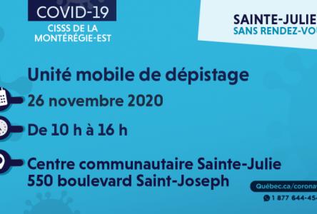 Clinique mobile de dépistage à Sainte-Julie le 26 novembre