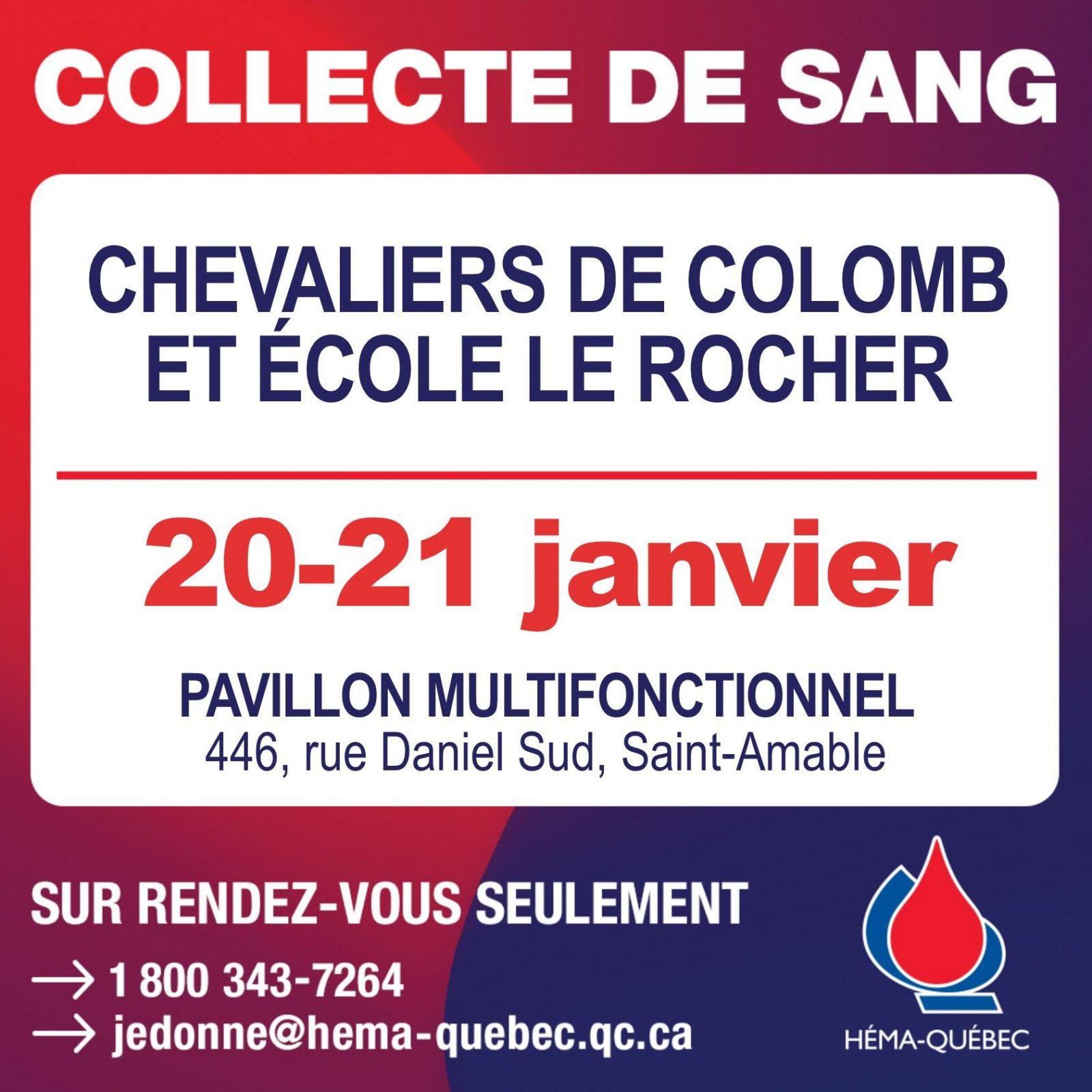 Collecte de sang des Chevaliers de Colomb de Saint-Amable les 20 et 21 janvier