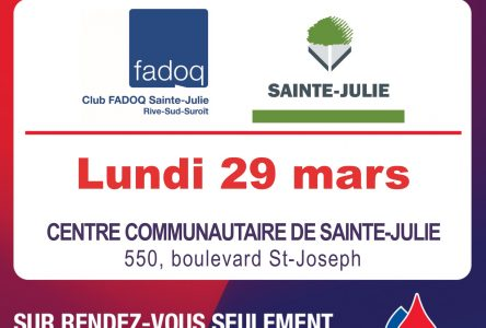 Collecte de sang de la FADOQ à Sainte-Julie: « Ce printemps, je donne du sang »