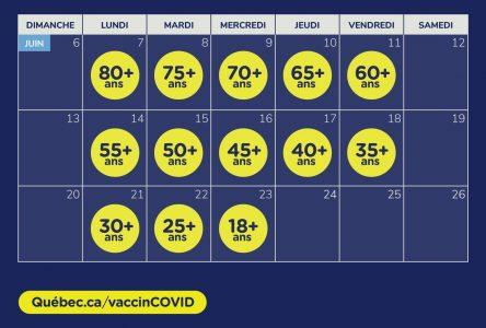 Calendrier de devancement des deuxièmes doses de vaccin