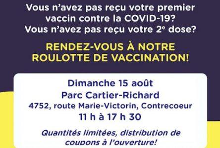 Vaccination à Contrecœur le 15 août de 11 h à 17 h 30 au parc Cartier-Richard