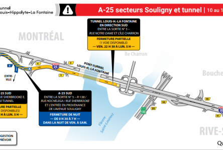 Entraves majeures dans le secteur de l'autoroute 25 et du tunnel durant la fin de semaine du 10 au 13 septembre