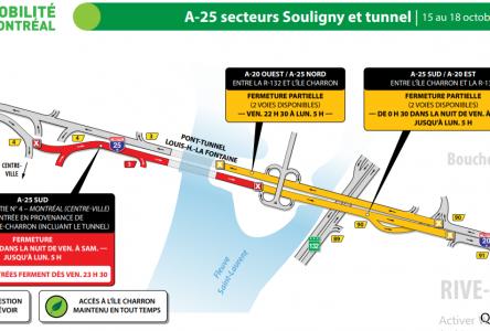 Fermeture complète du tunnel vers la Rive-Sud en fin de semaine